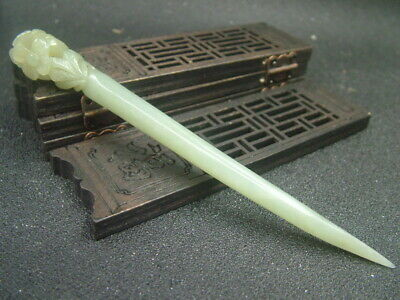 Antique Chinese Celadon Nephrite Hetian-Jade Hollowed Hairpin Statue/Pendant
