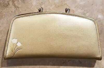 Rare 1950's Vintage Women's Valcor Gold Leather Clutch Wallet Tulip Design + box