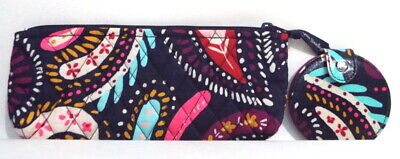 Vera Bradley Brush & Pencil Bag Cosmetic Case & Compact Mirror Painted Paisley