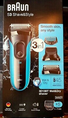 Braun S3 Shave & Style 3-In-1 Mens Wet & Dry Electric Shaver 3010BT New Sealed