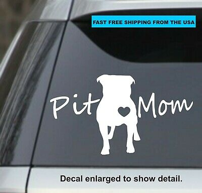 """Pitbull Mom Car Window BumperDecal Sticker I Love My Rescue Dog  4/"""" Inches #Rect"""