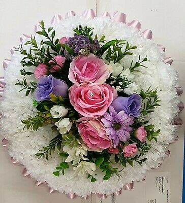 Artificial Silk Funerals Flower Wreath Posy Pads Floral Tribute Memorial 12""