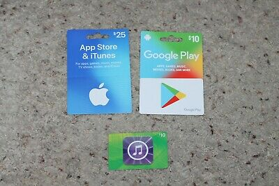 $45- Lot of 2 Apple App Store&iTunes $10+25 Gift Card and 1 Google Play $10 card