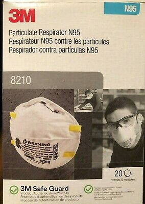 FAST FREE SHIP! Box Of 20 3M N95 8210 Dust Particulate Respirator Flu Face Mask