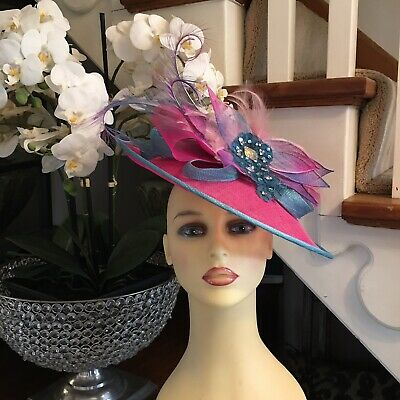 Wedding Hat Fascinator Races Formal 1000 Hats In Stock Pink/ Turquoise Stunning