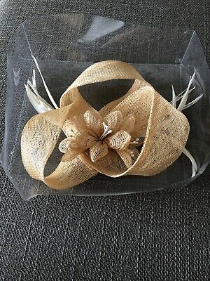 Fascinator Gold Hessian Style With Cream Feathers And Pearl Clip Richards Design