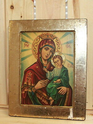 Hand painted Orthodox icon The Virgin and Christ Child
