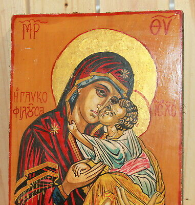 Vintage hand painted Orthodox icon The Virgin and Christ