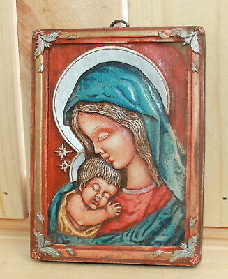 Hand made Orthodox icon Jesus Christ Virgin Mary