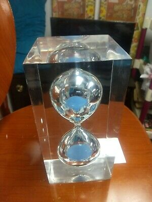 Vintage Mid Century Modern Lucite Acrylic Hourglass Sand Timer Sculpture