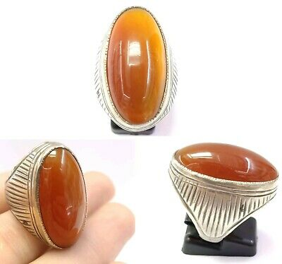 Sterling Silver Rare Natural Antique Genuine Agate Ring 9US Near Eastern Jewelry