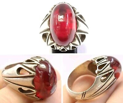 Sterling Silver Natural Antique Genuine Agate Ring 11.75US Near Eastern Jewelry