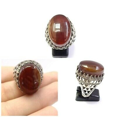 Sterling Silver Natural Antique Genuine Agate Ring 10US Near Eastern Jewelry