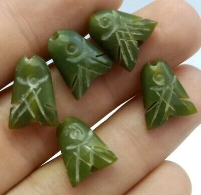 5 PCS of Afghan Natural Jade Fish Carved Amulet Pendant Beads Hand Crafted Gem