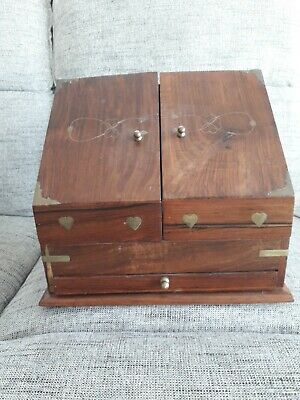 Old Wooden Stationary / Letter Storage Box Brass Inlay With Drawer