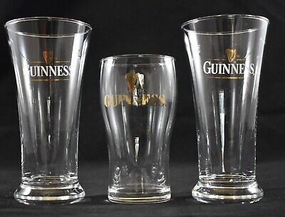 3 x COLLECTABLE GUINNESS BEER GLASSES GREAT USED CONDITION