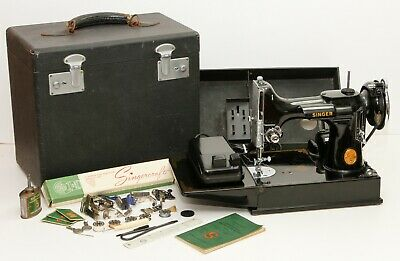 1945 Singer Featherweight 221 Sewing Machine SERVICED W/ Case & Acc...WOW!!!