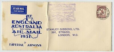 Australia 1931 Imperial Airways First Return Experimental Flight Cover To Uk