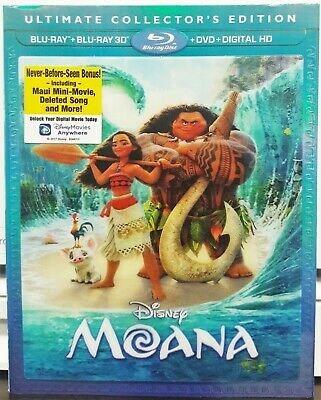 Moana (Blu-ray 3D, 2D, DVD, Digital HD, Slip, 2017) Ultimate Collector's Edition
