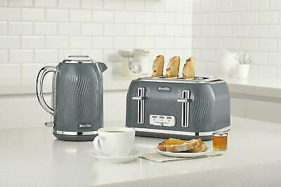 Breville Flow 4 Slice Toaster & Cordless Kettle Set Grey
