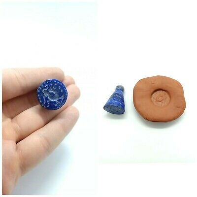 Rare Afghan Antique Natural Lapis Lazuli Bead Animal Intaglio Engraved Stamp