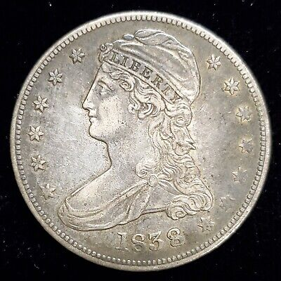 1838 Capped Bust Half Dollar 50c Coin in XF/AU Condition Better Date