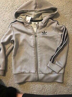 Adidas Baby Boys Grey Tracksuit Jacket,aged 18-24 Months,good Condition