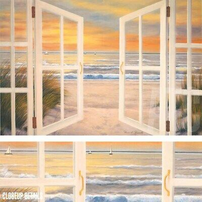 """36W""""x24H"""" SUNSET BEACH by DIANE ROMANELLO - OCEAN WINDOW VIEW CHOICES of CANVAS"""