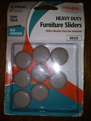 """Homeco Heavy Duty Furniture Sliders 8 Pieces 1"""" Round, 5mm Thick Self Adhesive"""