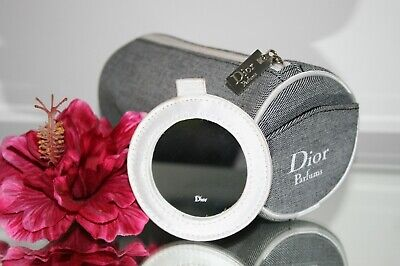 Christian Dior Blue Make Up Bag & Mirror Cosmetic Jewellery Travel Case