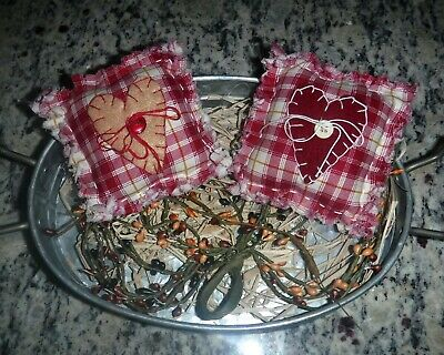 Set of 2 Homespun Plaid  PrImitive Hearts Country Americana Ornies Bowl Fillers