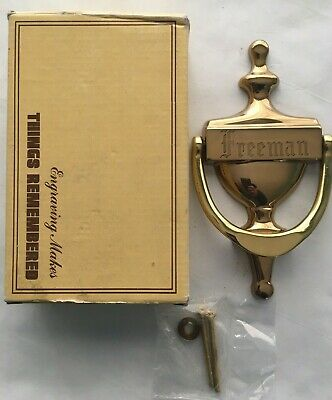 """Solid Forged Brass Door Knocker Made In Spain Stamped """"FREEMAN"""" Rare"""