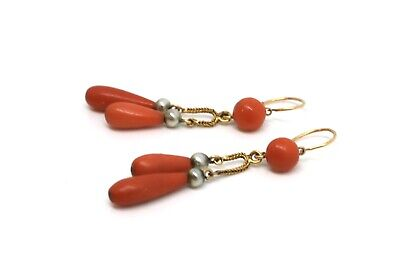 A Fine Pair of Antique Victorian French 18ct Gold Coral & Pearl Dropper Earrings