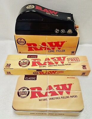 RAW King Size Cone Filler Loader Machine (2) 32 Count Boxes Cones & Storage Tin