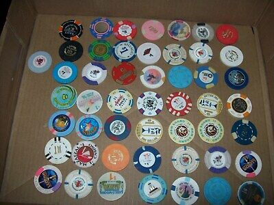 50 Vintage Casino Chip Collection  Las Vegas, Alantic City,Reno,Nm,Mn,Canada,Ca,