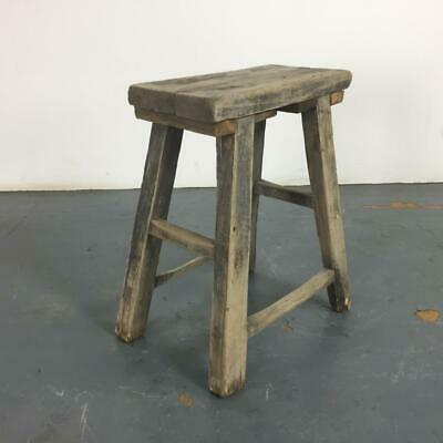 VINTAGE RUSTIC ANTIQUE WOODEN STOOL MILKING EXTRA LARGE No L232