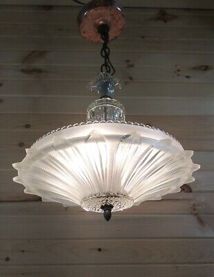 antique art deco sunflower chandelier light vtg ceiling fixture 30s 40s