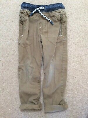 Boys Next Stone Cotton Pull On Cargo Trousers 4 Years