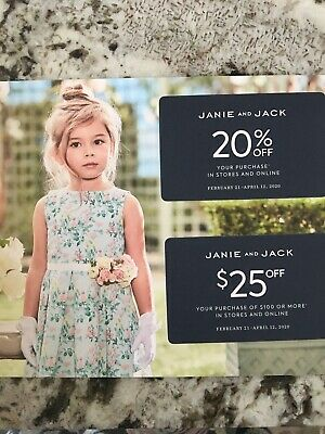 JANIE & JACK PROMO CODE COUPON - 20% off + $25 Off $100 - 2/21/20-04/12/20
