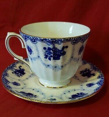 Duchess Genevieve Tea Cup and Saucer Bone China Pattern 426 Blue White Flower
