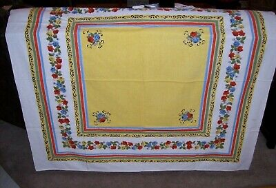 Vintage Tablecloth w/Roses & Daisies and Scroll-work