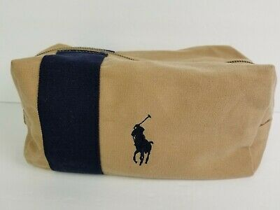 Polo Ralph Lauren Mens Travel Toiletry Bag Light Tan and Navy Canvas Leather btm