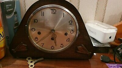 Vintage Antique Wood Mantle Chime Clock for Repair /Restoration