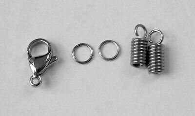 Stainless Steel Lobster Clasp + Coil Ends Kit 1.5mm 2mm 3mm Cord Set,End Caps
