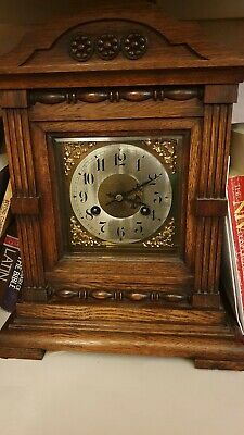 Antique mantle clock wooden case with key for restoration etc
