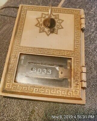 Vintage Brass Post Office Box Door Bank with key