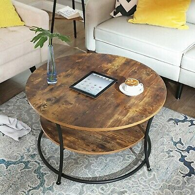 Industrial Coffee Table Round Rustic With Storage Shelf Vintage Retro Side Unit