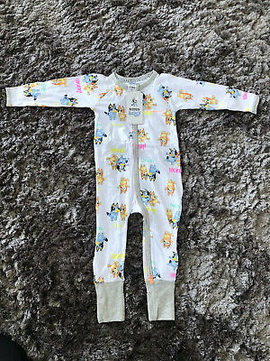 BONDS BLUEY Zippy Zip Wondersuit Size 1 12-18mths NWT White
