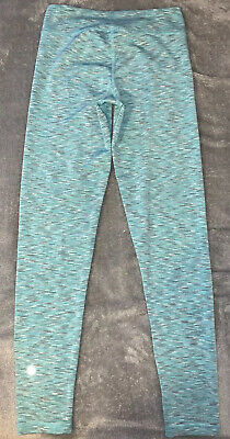 Girls Size Large 12 Leggings Blue With Gray variegated lines 90 Degree By Reflex