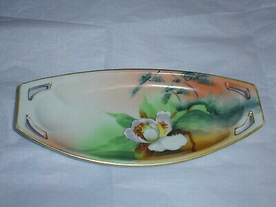 """Antique Nippon Relish Dish~Hand Painted, Magnolia~8&1/2""""X4""""  Exc Artistry"""